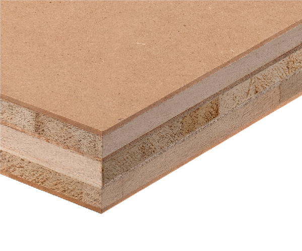 Crossed triple-core HDF blockboard